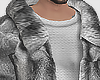 Wolf fur coat grey