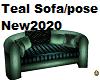 Teal Sofa couples pose
