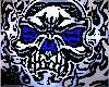 Grey and blue skull