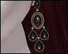 \/ Onyx Earrings ~ Gold