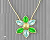 T l LimeBlue Flower Neck