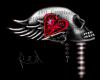 Skull love sticker red