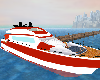 red and white yacht