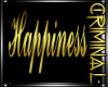 Gold Happiness Wall Sign