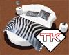 White, Zebra Print Bed