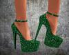 4V Green Glitter Heels