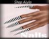 Long Blk/White Nails
