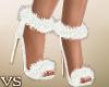 {VS} Furry White Heels