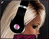 !B Blk Pink Headphones F