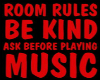 ROOM RULES SIGN
