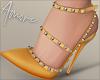 $ Studded Heels Yellow