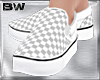 White Chess Slip Shoes