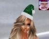 green animated santa hat