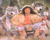 Native male with wolves