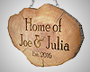 Joe & Julia's Log Sign