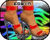 *E* red love sandals