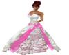 white & pink weddinggown