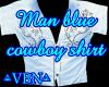 Man blue cowboy shirt