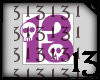 13 Skull Purple Lght NoB