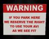 Parking Warning Sign