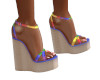 Rainbow Wedge Heels