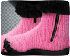 Pink Wool Fur Boots